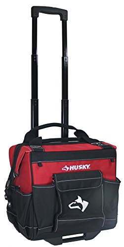 Husky GP-44316AN13 14'' 600-Denier Red Water-Resistant Contractor's Rolling Tool Tote Bag with Telescoping Handle by Husky (Image #3)