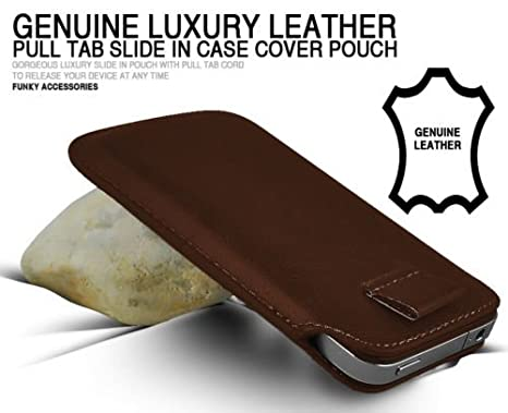 Amazon.com: MyCaseUK Brown Luxury Genuine Real Leather Pull ...