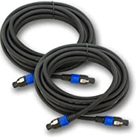Seismic Audio - F12S25 (Pack of 2) - 25 Foot Speakon to Speakon PA/DJ Speaker Cable - 4 Conductor - 12 Guage