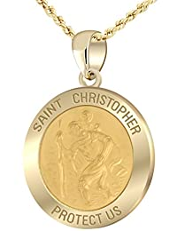 1.0in Hollow 14k Yellow Gold St Saint Christopher Pendant Charm Necklace