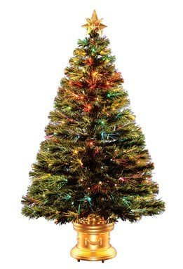 Fiber Optic Prelit Artificial Christmas Tree in Gold Base