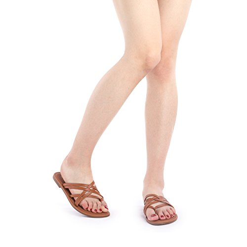 Fashion Thong PAIRS Slides Slipp DREAM 01 Design Sandals 01 tan Crossover Flat Women's nwWIwcqB
