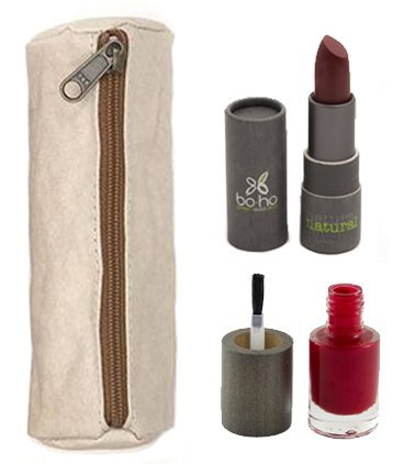 UASHMAMA, Small Makeup Bag for Purse with Key Holder + BOHO Green Revolution - Gorgeous Red Nail Polish & Red Lipstick - Long Lasting Color, 100% Natural, Vegan, Eco Friendly (Polish Lipstick Color)