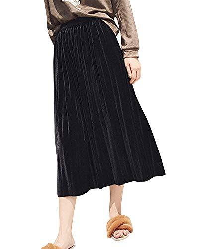 Rtro Midi Haute Femme Coupe Taille Jupe Jupe lastique Jupe Slim Yonglan Noir Taille Plisse pYqwvE