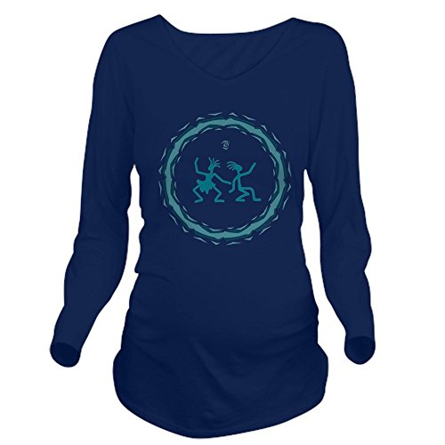 (Truly Teague Long Sleeve Maternity T-Shirt Dk Primitive Dancing Duo Teal - Navy, Small)
