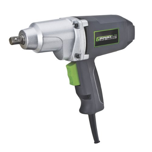 Genesis GIW3075K 7.5-Amp 1/2-Inch Impact Driver Kit with Detent Pin Anvil, Grey/Green