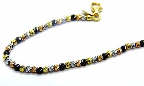 Bracelet Or 18carats boules-Boule pressées diamanté à quatre couleurs