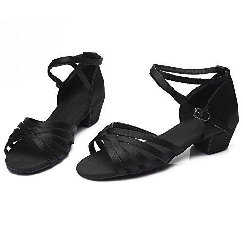 601 Latin Satin Shoes Black Ballroom A3US Women Girls HROYL Dance OxwqtR16Y