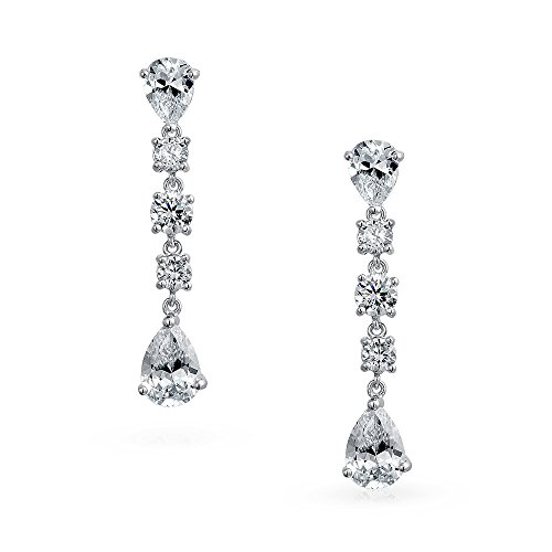(Linear Mix-Shaped Cubic Zirconia Bridal Wedding Prom Holiday Dangle Chandelier Earrings For Women 925 Sterling)