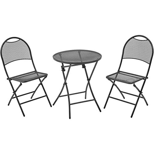jnwd 3pc Patio Bistro Set with 2 Two Outdoor Grey Patio Folding Dining Armchairs and One Round Coffee Table, Ferniture Set for Home, Poolside, Garden, Balcony, Porch, Bistro, Restaurant & e-Book (Ferniture)