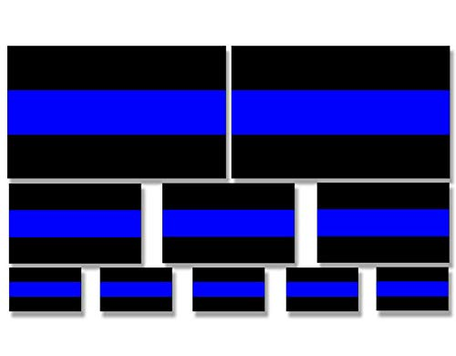 MAGNET ASSORTED (1 2 & 3 inches wide) Thin Blue Line Flag Stickers - police scrapbook Magnetic vinyl bumper sticker sticks to any metal fridge, car, signs ()