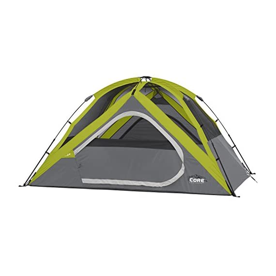 CORE Equipment 4 Person Instant Dome Tent - 9' x 7', Green 2 Instant 30 second setup; sleeps 4 people; fits one queen air mattress; center height: 54 Core H20 block technology and adjustable ground vent Features gear loft with lantern hook and pockets to keep items organized and off the tent floor