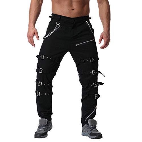COPPEN Men Long Pants Vintage Cotton Multi Zipper Outdoors Work Trouser