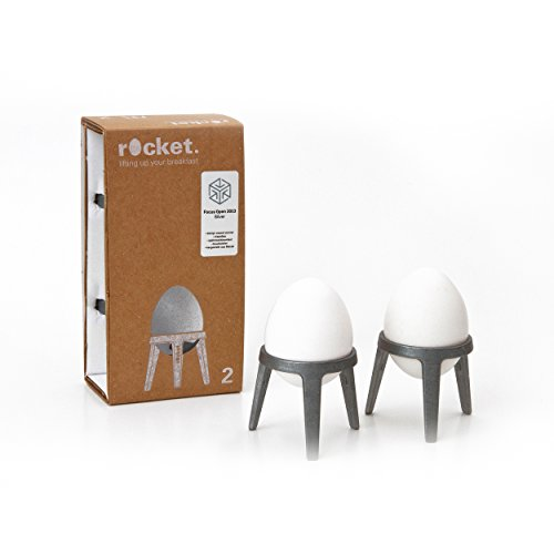 Brainstream Rocket Egg Cup, Egg Holder, Gift Set, 2 pieces (raw grey)