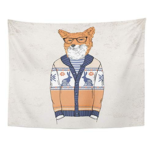 Remain Unique Tapestry Fox Dressed Up in Jacquard Pullover Anthropomorphic Animals Wall Hang Decor Indoor House Made in Soft