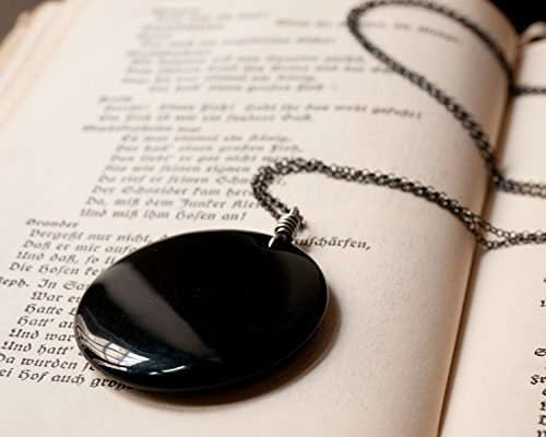 Obsidian Mirror and Sterling Silver Necklace.