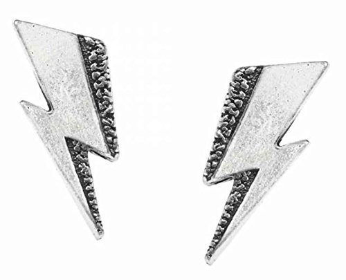 (David Bowie Stud Earrings Flash Band Logo Ziggy Stardust Official Metallic )