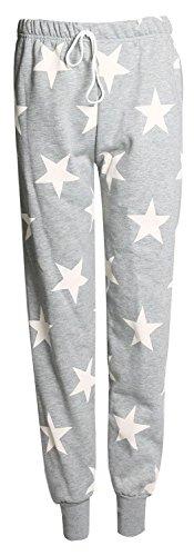Fast Fashion de las mujeres 2piezas Star Print manga larga sudadera pantalones Chándal–�?Gris Blanc