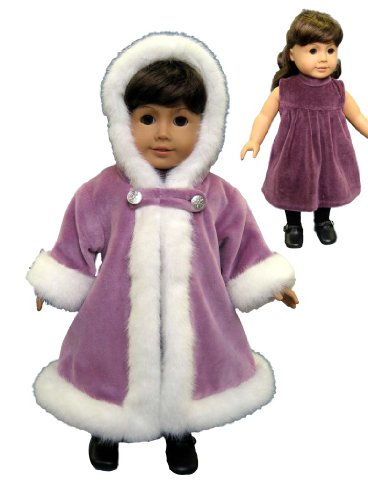 Purple Velvet Dress with Fur Trimmed Coat. Fits 18 Dolls