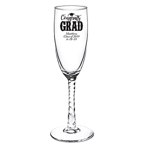 (Personalized Color Printed Twisted Stem Champagne Flute - Congrats Grad - Black - 12 pack)