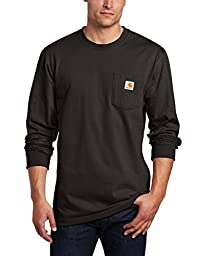 Carhartt Men\'s Workwear Pocket Long Sleeve T-Shirt Midweight Jersey Original Fit K126,Black,Large