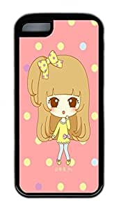 The Girl On Big Eyes 2 Lovely Mobile Phone Protection Shell For iPhone 5c Cases - Unique Cool Black Soft Edge Case