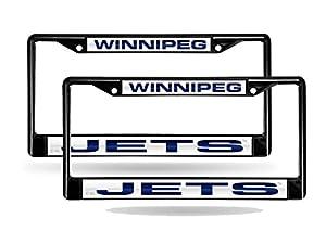 Winnipeg Jets NHL Black Metal (2) Laser License Plate Frame Set