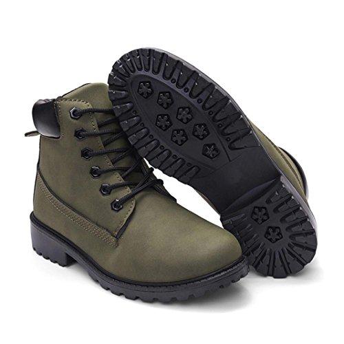 Solido Invernali Scarpe Martin Colorato Boots Casual Stivali Stivali Cuoio Stivali Stile Artificiale Casual Donne Longra Stivali Verde Casual 5gHnq4EYw