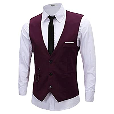 ainr Men Winter Classic Basic Solid Color Suit Vest for cheap