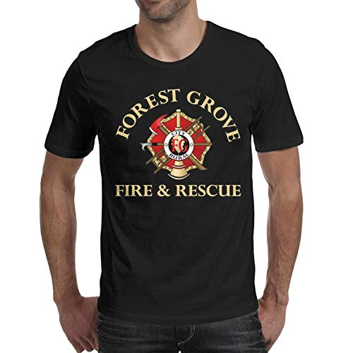 DXQIANG Forest Grove Fire & Rescue Design Men's Funny T Shirt Short Sleeve Tee Tops