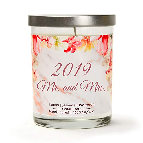 Mr. and Mrs. 2019 | Lemon, Jasmine, Rosewood | Luxury Scented Soy Candle | 10 Oz. Jar Candle | Made in The USA | Unique Bride Gift for The Bride to Be | Cute Couple Gift | Newly Married Gift