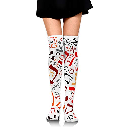 Creative Hebrew Alphabet Women's Knee High Socks Fancy Design, Best For Running, Athletic Sports,Yoga. ()