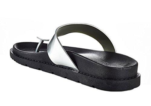Metallic Silver Thong Ferrera Super 8 Henry Sandal Womens JL100 Soft qIP6AT7x