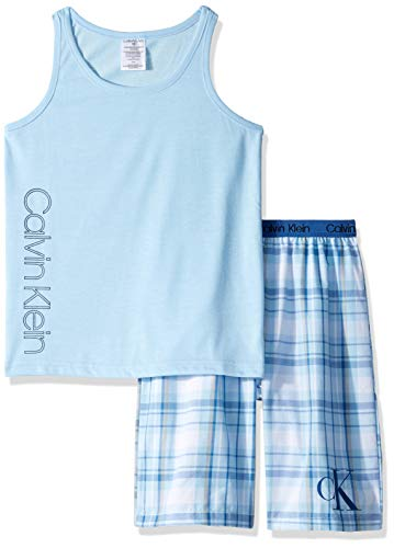 Calvin Klein Boys' Little 2 Piece Sleepwear Top and Bottom Pajama Set Pj, Blue Bell, ck River Plaid, M (Boy Brief Plaid)