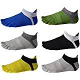 Fascot Men's Cotton Low Cut Athletic Toe Socks 5 - 6 Packs Six Color