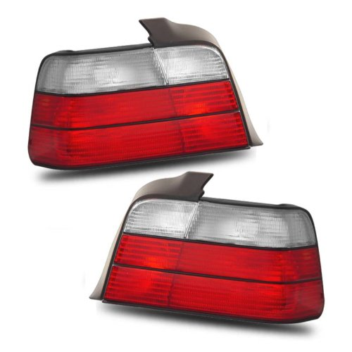 (SPPC 4 Door Taillights Red/Clear Assembly Set For BMW 3 Series E36 - (Pair) Driver Left and Passenger Right Side Replacement)