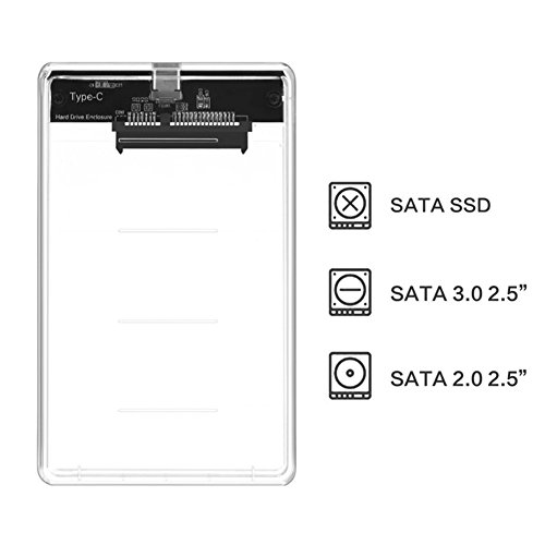 ALLCACA External Hard Drive Enclosure Hard Disk Case SSD Box, Suitable for 2.5-inch SATA SSD and HDD, Transparent