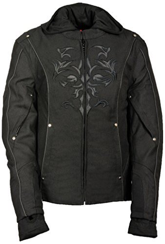 NexGen Women's Doulon 1300 Nylon Twill Fleece Hooded Jacket (Black/Black, X-Large) (Jacket Textile Womens Biker)
