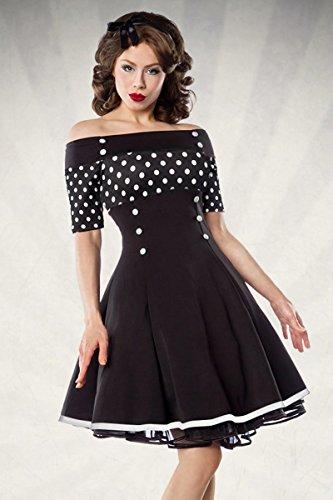 Belsira - Vintage-Kleid - schwarz/weiß/dots - XL