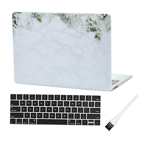 MacBook Pro 13 inch Case Cover 2020 2019 2018 2017 2016 Release A2159 A1706 A1708 A1989 Laptop Plastic Hard Shell Case Marble & Silicone Keyboard Cover & Dust Brush- Marble Flowers