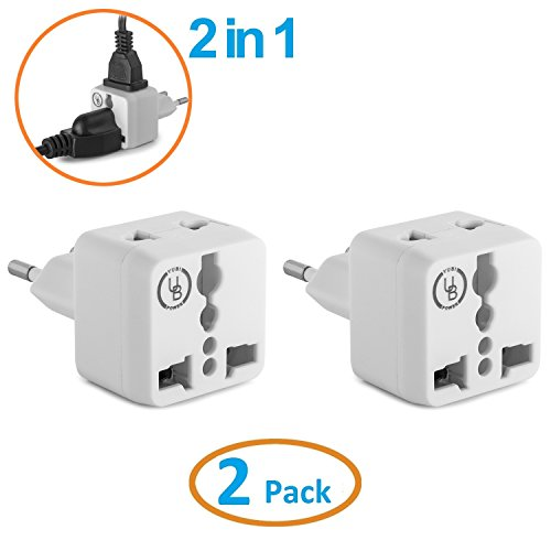 European Plug Adapter by Yubi Power 2 in 1 Universal Travel
