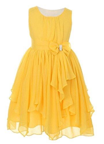 iGirlDress Big Girls Yoryu Chiffon Flower Girl Dress 8 Yellow - Puffy Yellow Dress