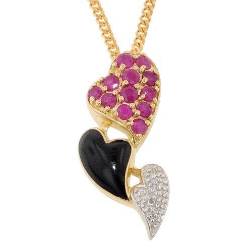 Or 9 Carats Rubis Diamant &Triple pendentif en forme de cœur