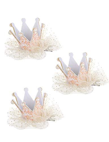 - ACCGLORY 3pcs Baby Girls Princess Crown Tiara Hairpin Pearl Hair Clips for Kids Toddler