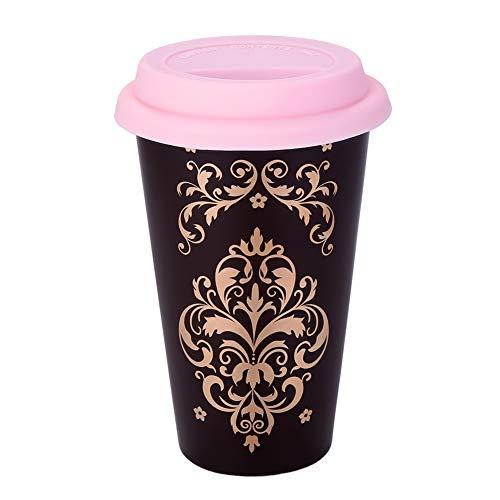 Double Wall Ceramic Coffee Mug Thermal Travel Tea Cup 12 OZ Heatproof Cup with Silicone Lid (Dark - Mug 12 Ounce Ceramic
