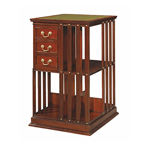 Revolving Bookcase Bookcases (English Style Mahogany Leather Top Revolving Bookcase ~ NEW JI-12537)