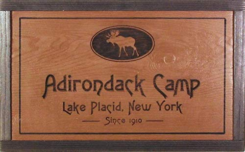 CELYCASY Wooden Camp Sign - Camp Sign - Custom Cabin Sign - Adirondack Sign Makers - Lodge Sign Personalized - Signs Featuring Moose - Campsite Sign ()