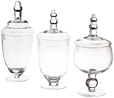 James Scott Set of 3 Glass Apothecary Jars with Lid - High Glass Canister - Home Decor & Party Wedding Centerpiece, Candy Storage Bottles Terra Collection Designer - High Apothecary Jar