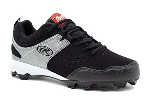 Rawlings Clubhouse Baseball Shoe, Black/Silver, 8.5 D US by Rawlings