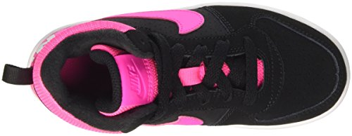 Nike Court Borough Mid (Ps), Zapatillas de Baloncesto para Niñas Negro (Black / Pink Blast)